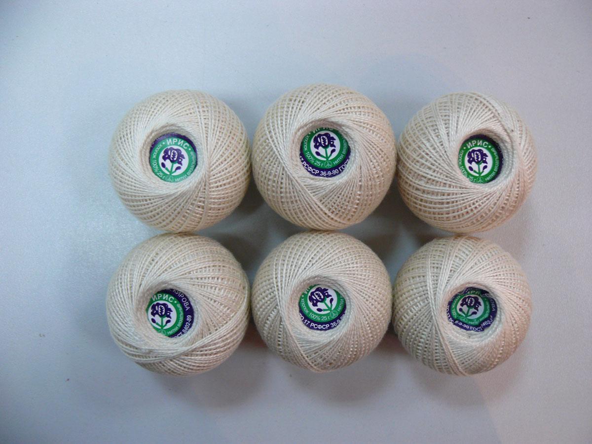 Нитки вязальные Ирис, хлопчатобумажные, цвет: молоко (0102), 150 м, 25 г, 6 шт0211101846778