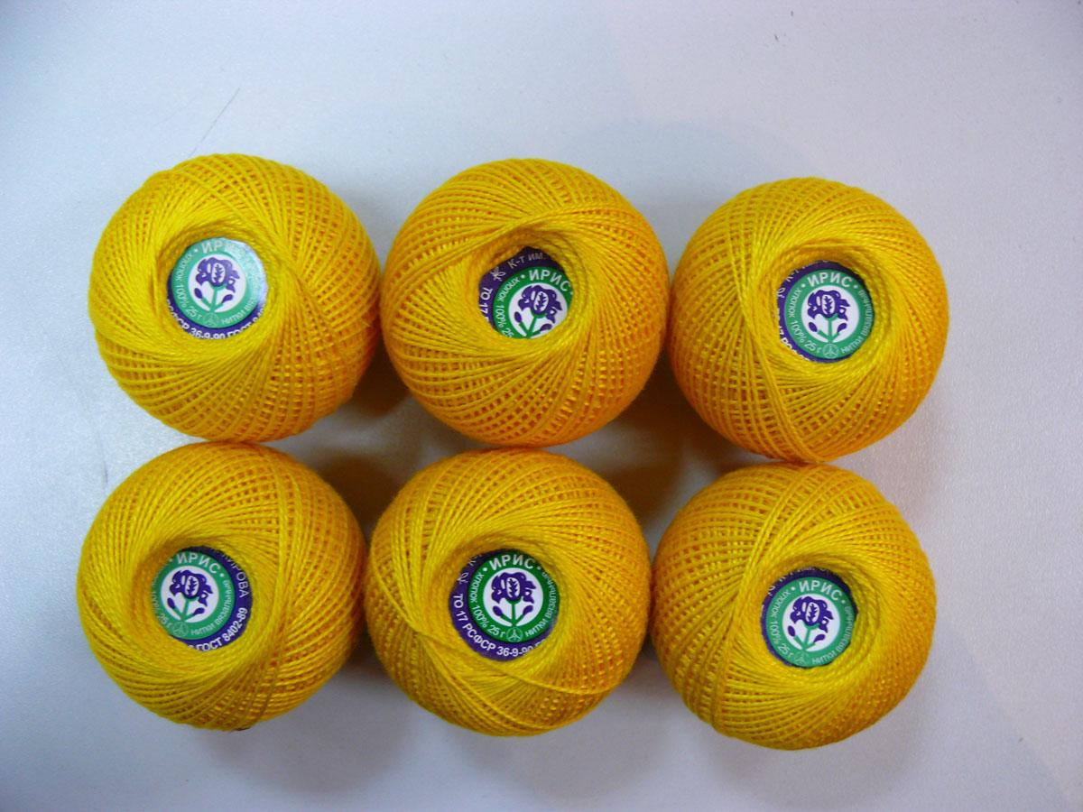 Нитки вязальные Ирис, хлопчатобумажные, цвет: желтый (0305), 150 м, 25 г, 6 шт0211101866778Вязальные нитки в 2 сложения Ирис изготовлены из 100% хлопка. Такие нитки используются для вязания крючком. Нити крученые, однотонные, мерсеризованные. В наборе - 6 клубков. С их помощью вы сможете связать своими руками необычные и красивые вещи.
