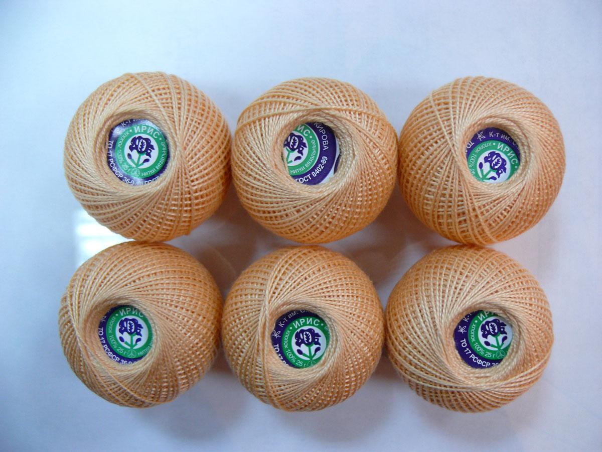Нитки вязальные Ирис, хлопчатобумажные, цвет: абрикосовый (0602), 150 м, 25 г, 6 шт0211101887778