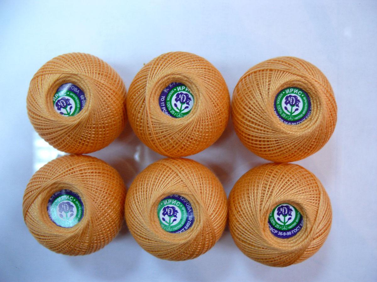 Нитки вязальные Ирис, хлопчатобумажные, цвет: персиковый (0604), 150 м, 25 г, 6 шт0211101888778