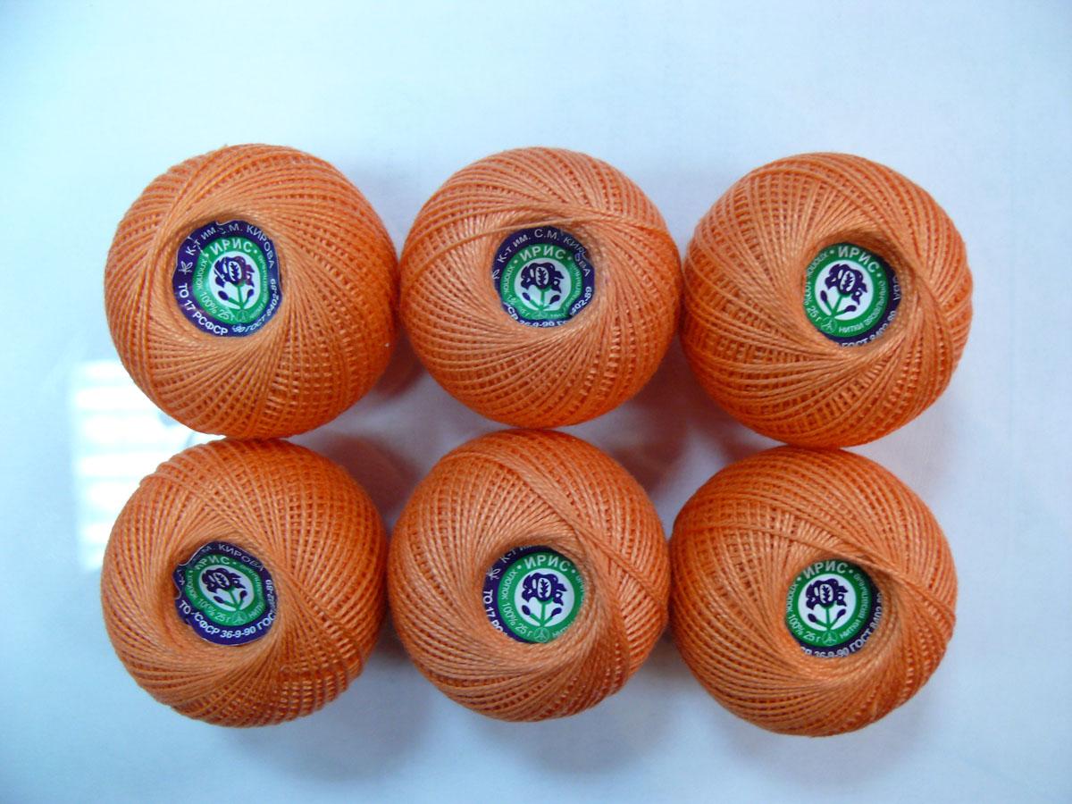 Нитки вязальные Ирис, хлопчатобумажные, цвет: коралловый (0802), 150 м, 25 г, 6 шт0211101910778