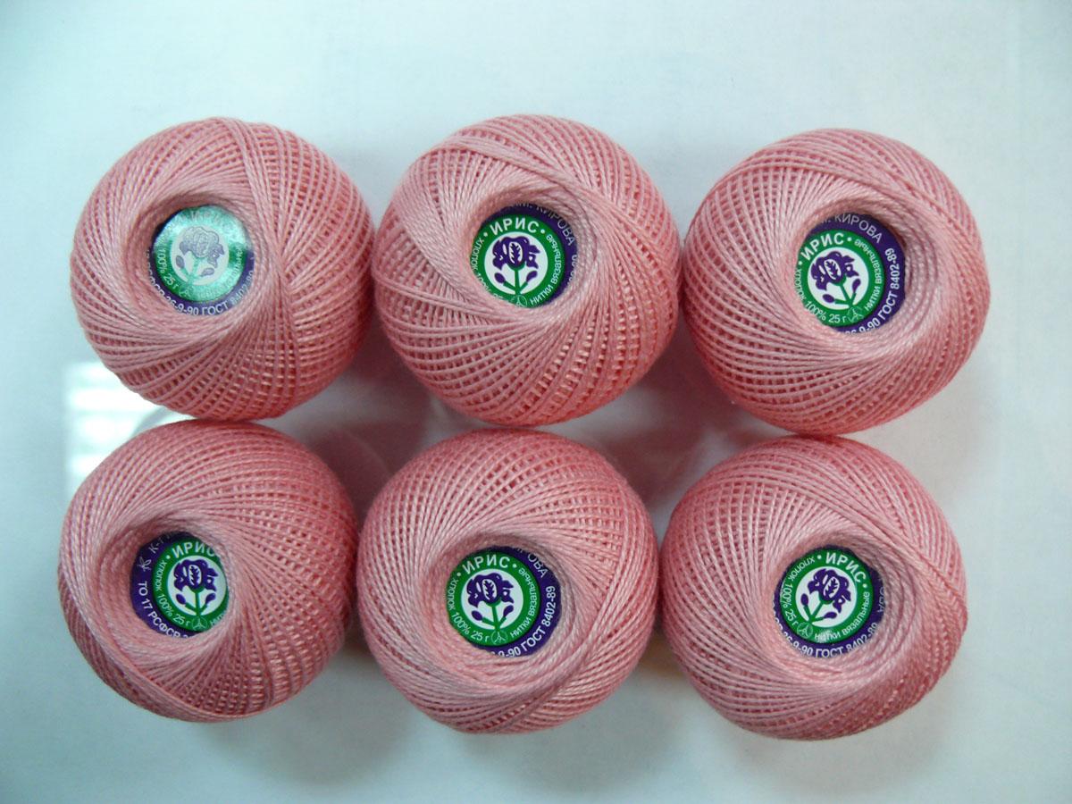 Нитки вязальные Ирис, хлопчатобумажные, цвет: розовый (1006), 150 м, 25 г, 6 шт0211101931778