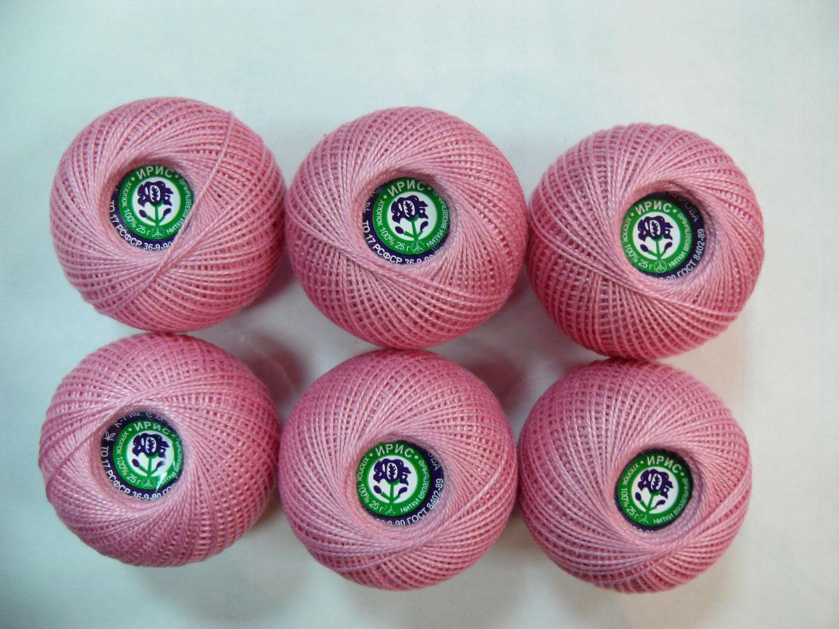 Нитки вязальные Ирис, хлопчатобумажные, цвет: розовая гвоздика (1104), 150 м, 25 г, 6 шт0211101946778