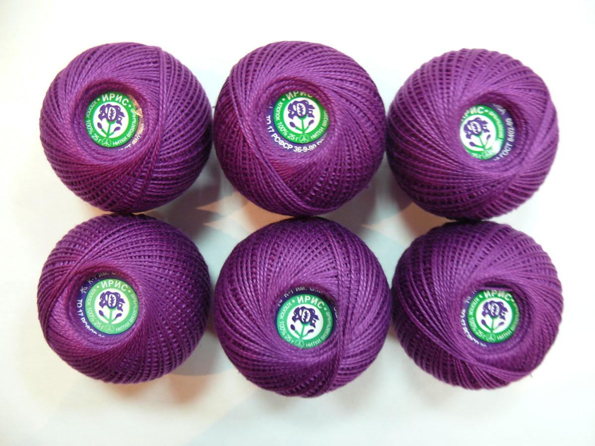 Нитки вязальные Ирис, хлопчатобумажные, цвет: фиолетовый (2112), 150 м, 25 г, 6 шт0211102037778