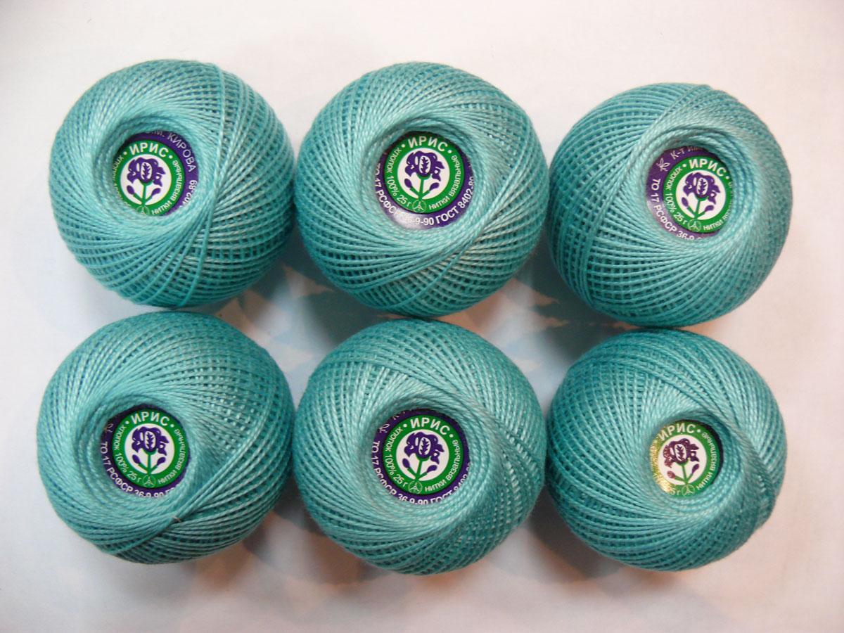 Нитки вязальные Ирис, хлопчатобумажные, цвет: бледно-зеленый (3506), 50 м, 25 г, 6 шт0211102163778