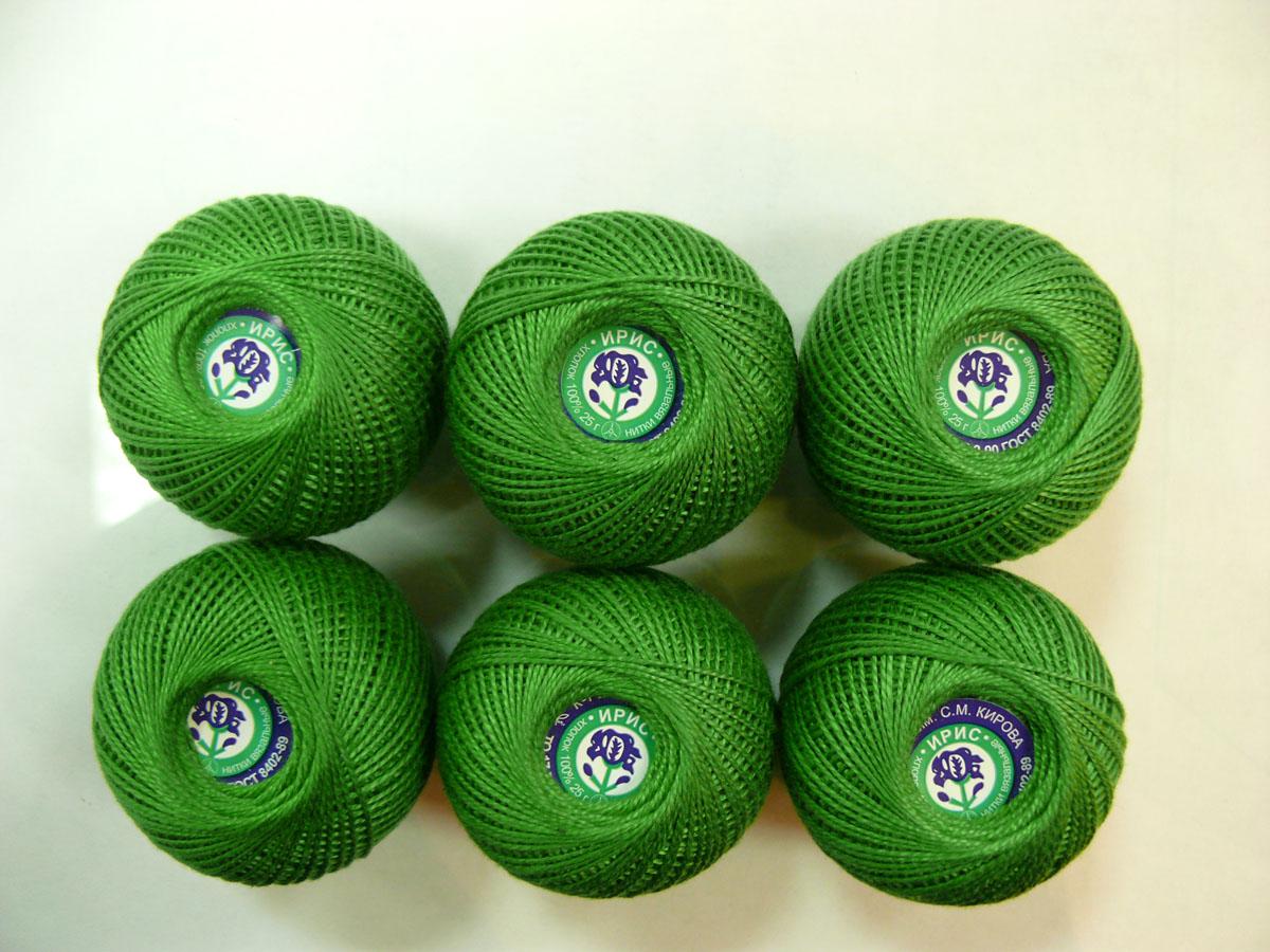 Нитки вязальные Ирис, хлопчатобумажные, цвет: зеленый лесной (3910), 150 м, 25 г, 6 шт0211102203778Вязальные нитки в 2 сложения Ирис изготовлены из 100% хлопка. Такие нитки используются для вязания крючком. Нити крученые, однотонные, мерсеризованные. В наборе - 6 клубков. С их помощью вы сможете связать своими руками необычные и красивые вещи.