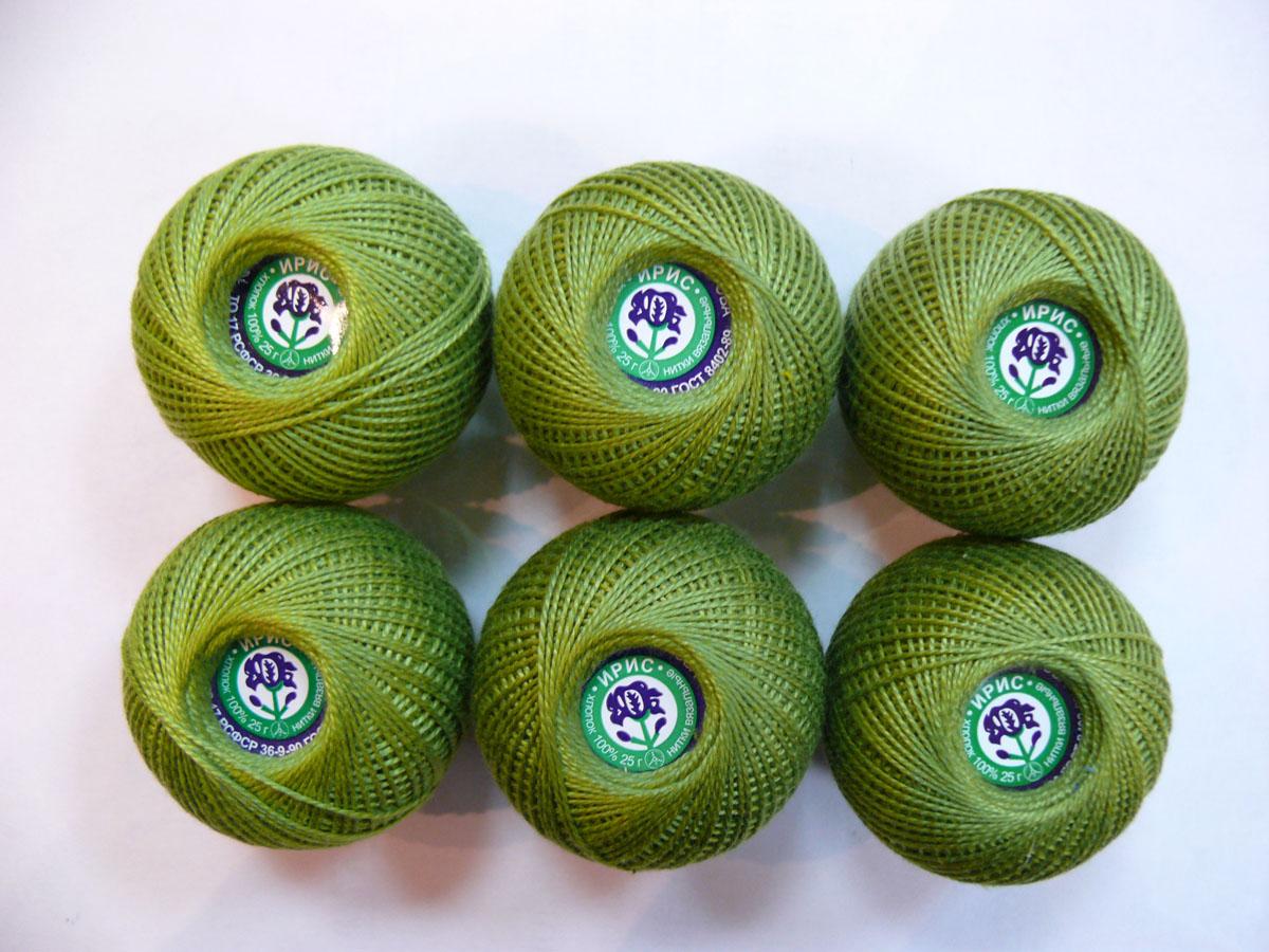 Нитки вязальные Ирис, хлопчатобумажные, цвет: зеленый горошек (4006), 150 м, 25 г, 6 шт0211102212778