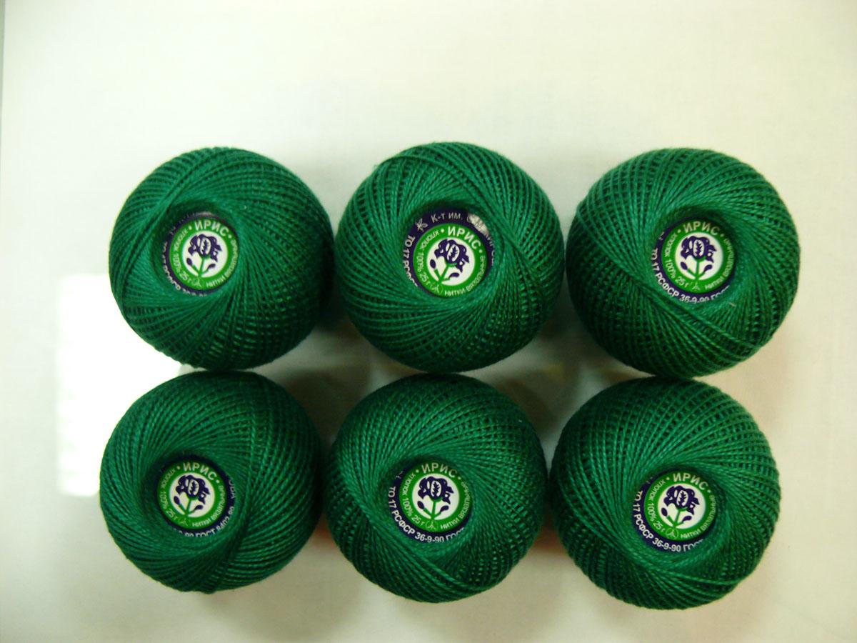 Нитки вязальные Ирис, хлопчатобумажные, цвет: зеленый (4110), 150 м, 25 г, 6 шт0211102226778