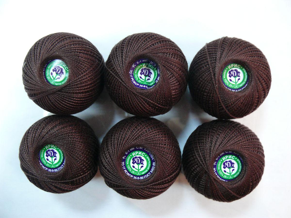 Нитки вязальные Ирис, хлопчатобумажные, цвет: кофейный (5710), 150 м, 25 г, 6 шт0211102356778