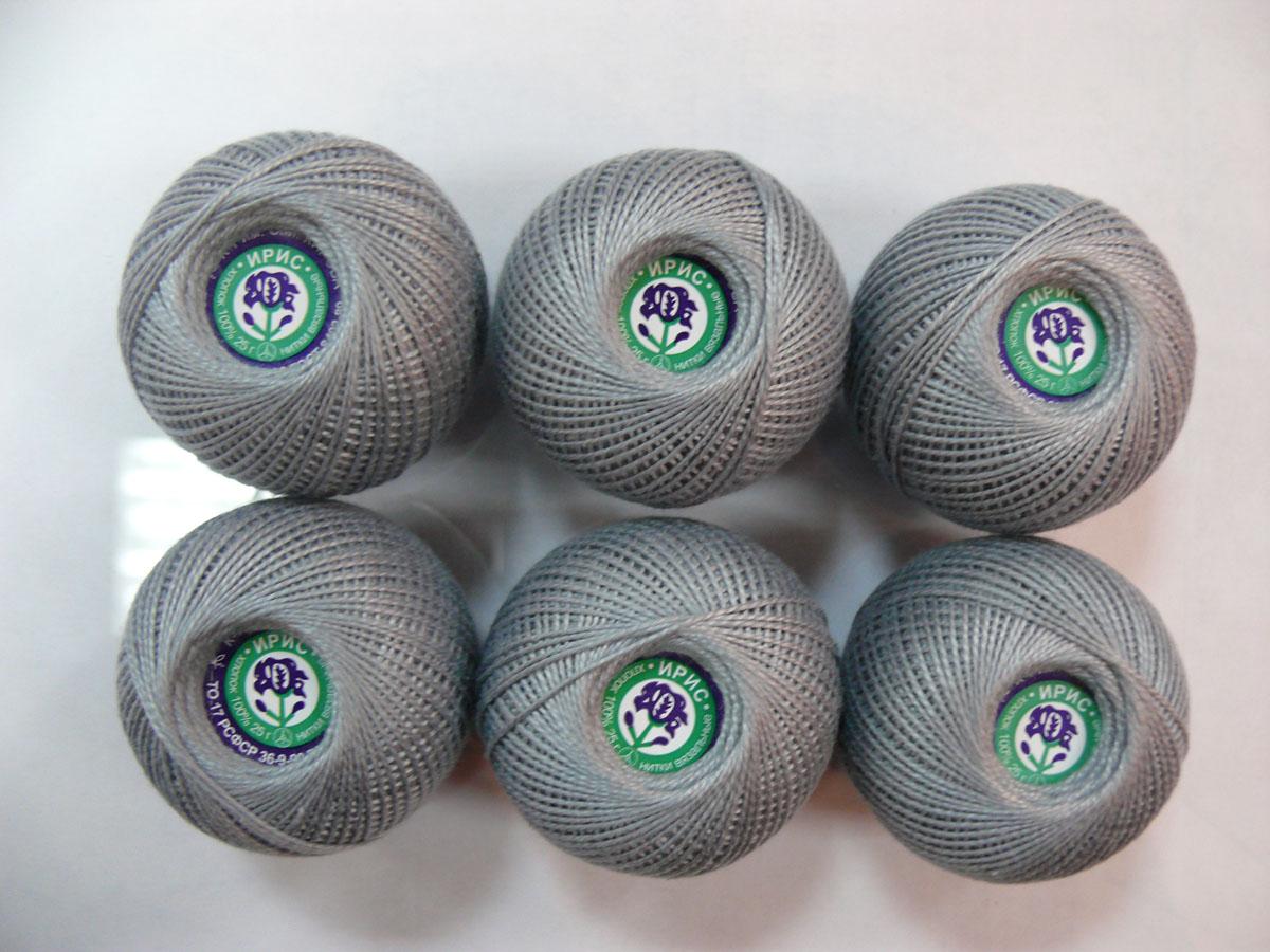 Нитки вязальные Ирис, хлопчатобумажные, цвет: серый (7002), 150 м, 25 г, 6 шт0211102479778