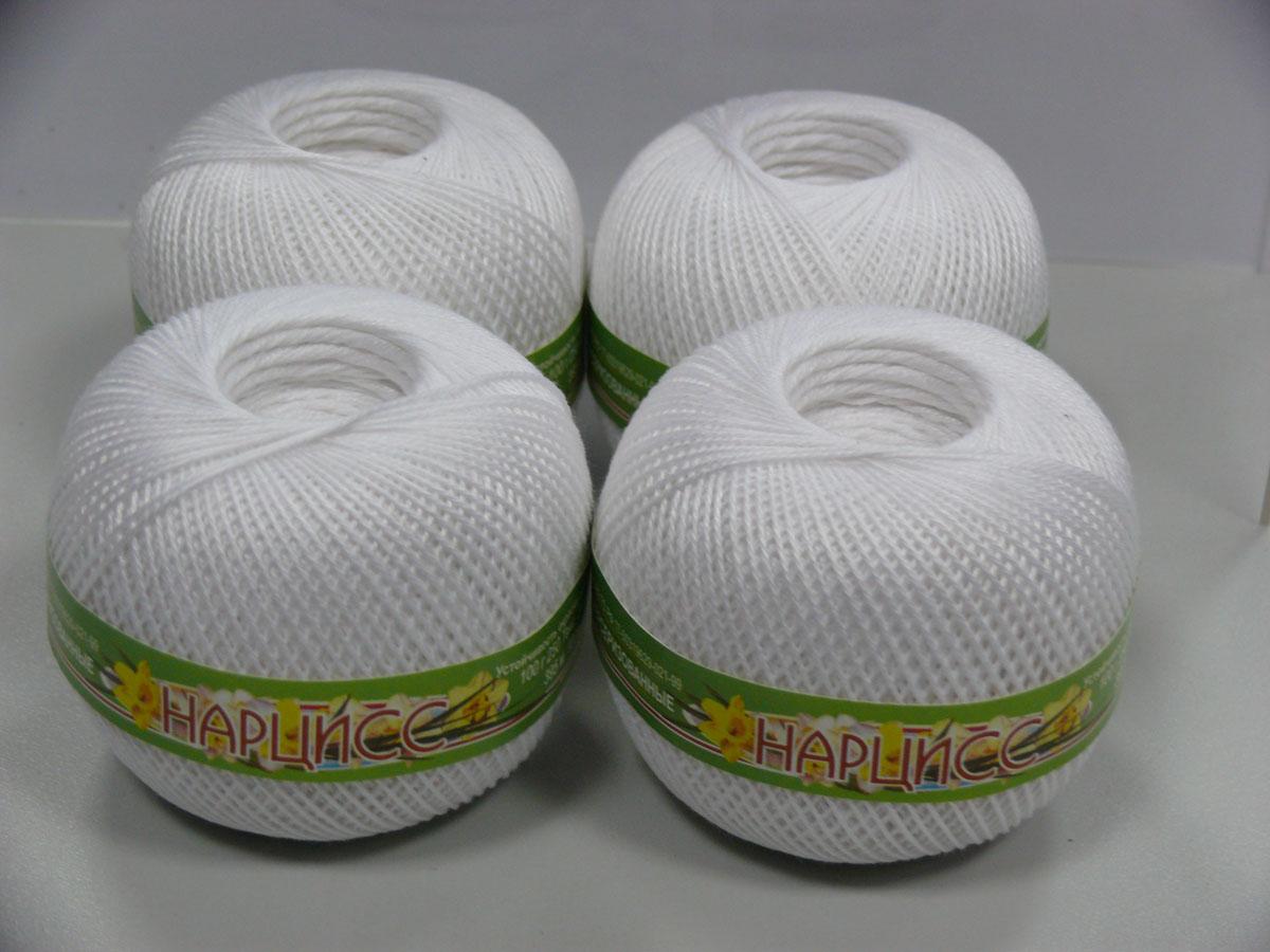 Нитки вязальные Нарцисс, хлопчатобумажные, цвет: белый (0101), 395 м, 100 г, 4 шт0211401845778