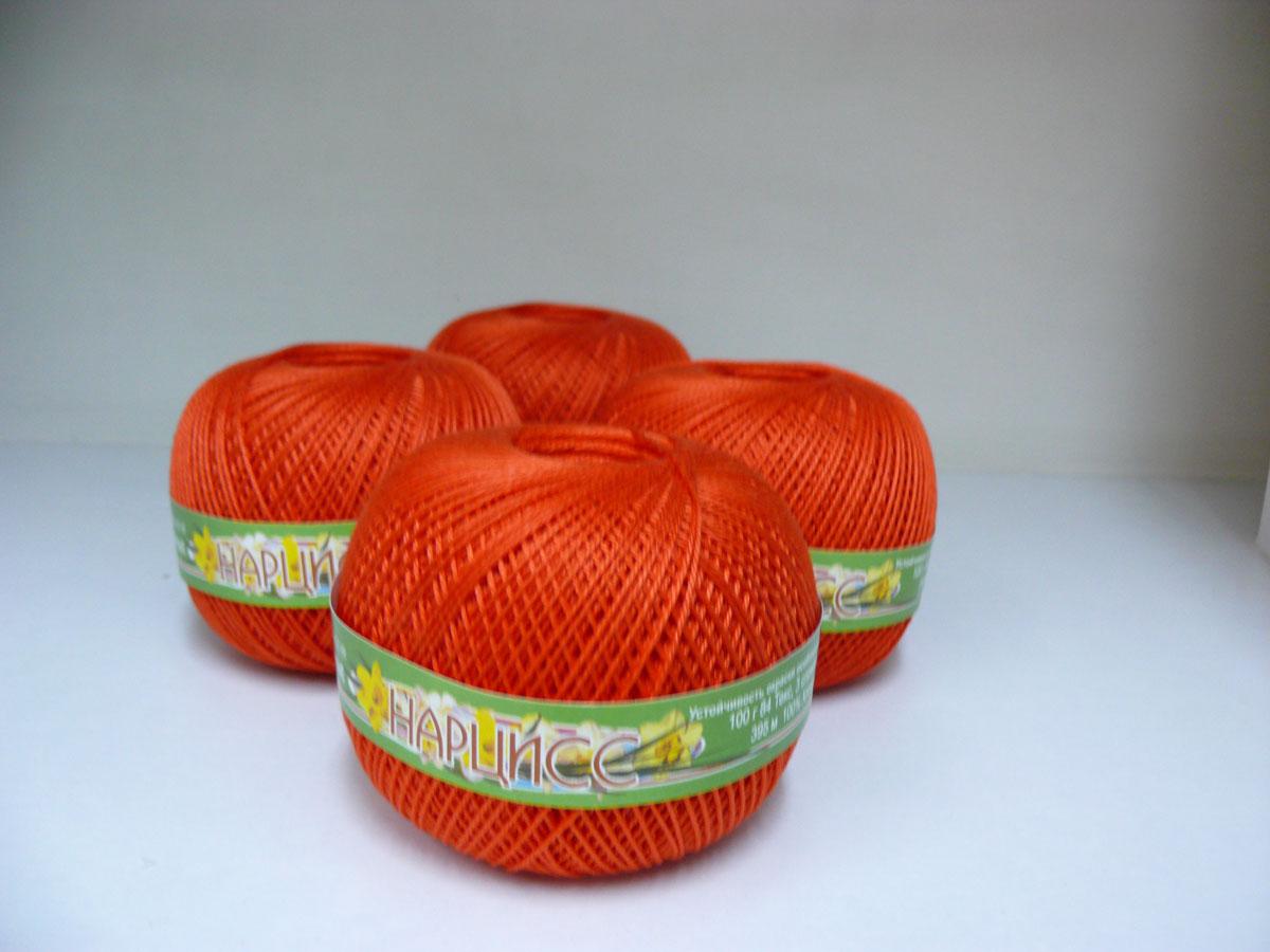 Нитки вязальные Нарцисс, хлопчатобумажные, цвет: кирпичный (0712), 395 м, 100 г, 4 шт0211401904778Вязальные нитки в 3 сложения Нарцисс изготовлены из 100% хлопка. Такие нитки используются для вязания крючком. Нити крученые, матовые, мерсеризованные. Устойчивость окраски - особо прочная. В наборе - 4 клубка. С их помощью вы сможете связать своими руками необычные и красивые вещи.