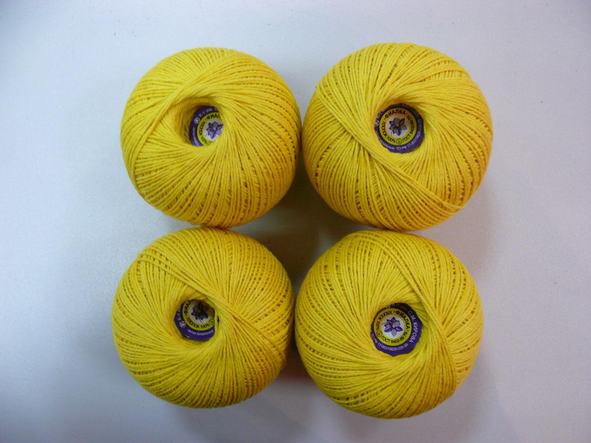 Нитки вязальные Фиалка, хлопчатобумажные, цвет: желтый (0203), 225 м, 75 г, 4 шт0211502952778Вязальные нитки в 4 сложения Фиалка изготовлены из 100% хлопка. Такие нитки используются для вязания крючком. Нити крученые, матовые, мерсеризованные. Устойчивость окраски - особо прочная. В наборе - 4 клубка. С их помощью вы сможете связать своими руками необычные и красивые вещи.