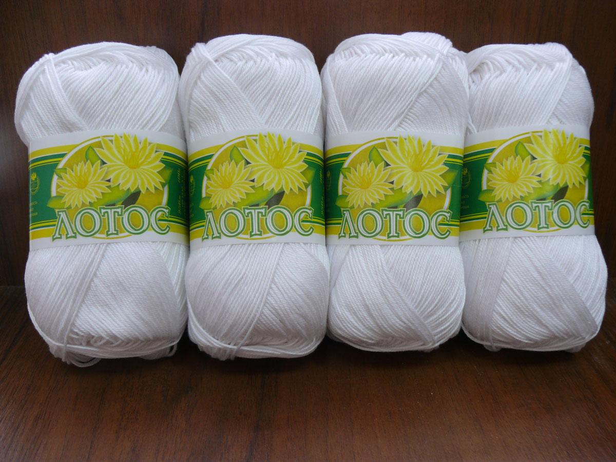 """Нитки вязальные """"Лотос"""", хлопчатобумажные, цвет: белый (0101), 250 м, 100 г, 4 шт"""