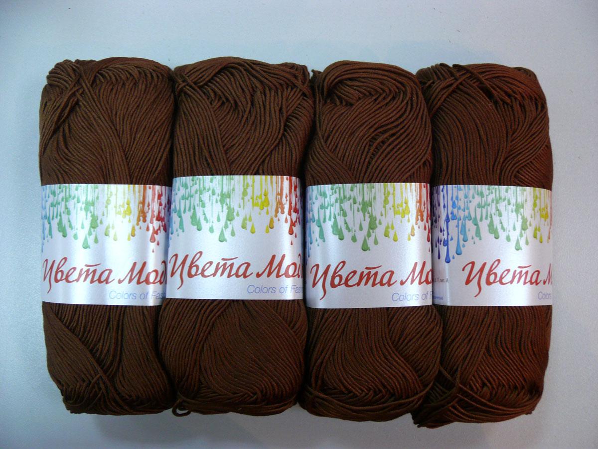 Нитки вязальные Цвета моды, хлопчатобумажные, цвет: кофейный (6509), 190 м, 75 г, 4 шт0213804607778Нитки Цвета моды - это мерсеризованные нити, изготовленные из 100% хлопка и предназначенные для ручного вязания. Обладают ярким устойчивым окрасом, цвет изделия навсегда сохранит первозданный оттенок. Благодаря хлопчатобумажному составу нитей, связанные изделия будут экологически чистыми и безопасными в носке. Ниточка очень мягкая и податливая, хорошо скручена. С такими нитями вы сможете создать стильные, красивые и модные вещи, которые будут только у вас! Состав: 100% хлопок. Количество мотков: 4. Длина нити: 190 м. Количество сложений: 24. Толщина нити: 400 Текс.