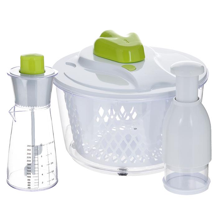 Набор для приготовления салата, 3 предметаZ888Набор для приготовления салата включает в себя: сушилку для салата, измельчитель для овощей и бутылочку для масла. Все предметы набора выполнены из высококачественного пищевого пластика. Лезвия выполнены из нержавеющей стали. Сушилка обеспечивает бережное мытье и обсушивание зелени. Под действием центробежной силы вода стряхивается и собирается на стенках и дне чаши. Чаша сушилки с фиксирующейся крышкой позволяет использовать ее как контейнер для временного хранения продуктов. Работа сушилки осуществляется без лишнего шума и брызг. Измельчитель идеально подходит для нарезки лука, чеснока, редиса, огурцов, яблок, очищенных от скорлупы орехов, зелени, грибов и других продуктов. Нож приводится в действие нажатием толкателя ножа, при этом лезвия будут вращаться. Благодаря прозрачной чаше вы всегда сможете наблюдать за степенью измельчения продуктов. Чтобы извлечь измельченные продукты, достаточно снять крышку с чаши. В баночке для масла вы сможете приготовить различные...