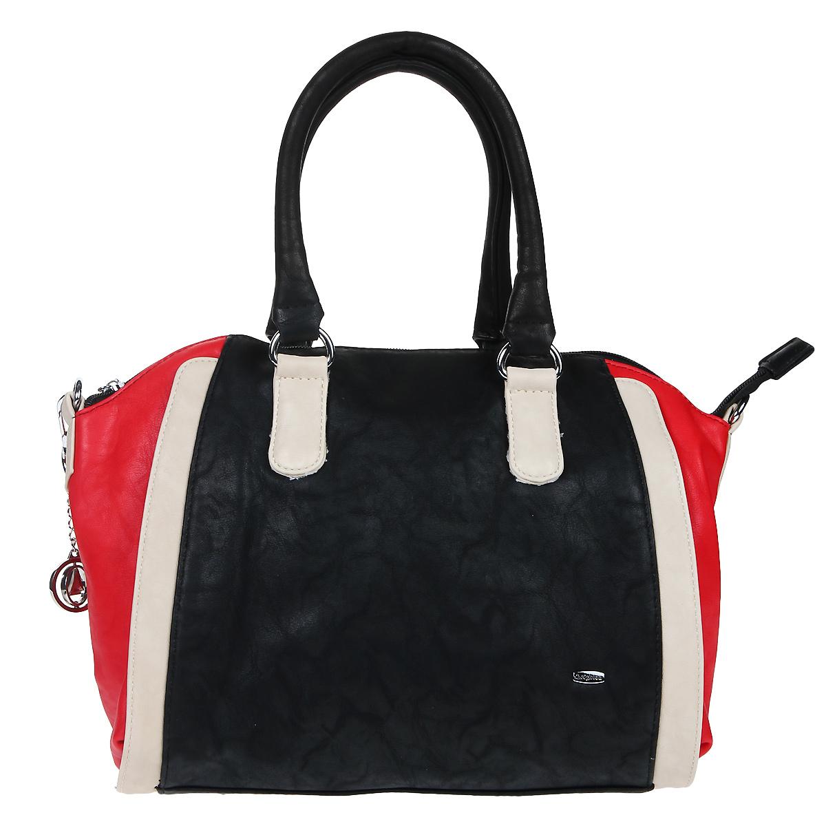 Сумка женская Leighton, цвет: черный, красный, белый. 570442-6090570442-6090/1112/601/6094Оригинальная женская сумка Leighton выполнена из искусственной кожи и исполнена в трех цветах. Лицевая сторона оформлена металлической пластиной с гравировкой в виде названия бренда. Модель декорирована стильным фирменным брелоком. Ручки-жгуты крепятся к корпусу сумки на фурнитуру круглой формы. Изделие закрывается на застежку-молнию. Внутри - большое отделение, разделенное средником, также есть два накладных кармана для мелочей, телефона и врезной карман на застежке-молнии. На обратной стороне - карман на застежке-молнии. Дно оснащено металлическими ножками, защищающими изделие от повреждений. Съемный ремень - в комплекте. Изделие упаковано в текстильный чехол. Классическое цветовое сочетание, стильная фактура кожи, модный дизайн не оставят равнодушной ни одну представительницу прекрасной половины человечества. Характеристики: Материал: искусственная кожа, металл, текстиль. Цвет: черный, красный, белый. Размер сумки: 35 см х...