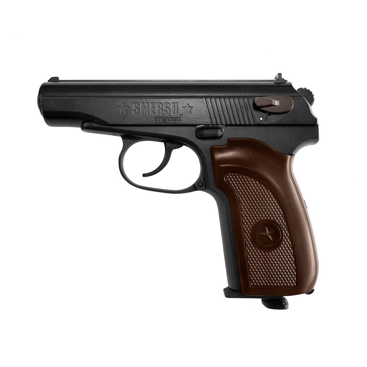 SMERSH H1 пистолет пневматический Blowback, CO2, 4,5, цвет: Black356Пневматическая реплика - пистолет Smersh H1. Боевой прототип - советский ПМ (Пистолет Макарова). Характеристики пневматической версии: Подвижная затворная рама для имитации отдачи и большего реализма при стрельбе (система Blowback). Корпус выполнен из металлических сплавов, рукоять - из пластика. Магазин пистолета вмещает 17 шариков 4,5 мм. Предохранитель флажкового типа. Ствол стальной гладкий. Открытые прицельные приспособления: мушка и целик. Емкость магазина — 17 шариков Начальная скорость — 110 м/с Вес — 530 г Длина — 160 мм Дульная энергия — до 3 Дж Уважаемые покупатели, при использовании пневматики соблюдайте технику безопасности: храните в разряженном состоянии в местах недоступных для детей, не направляйте на людей и животных, при стрельбе следите, чтобы в районе мишени не было людей, всегда используйте защитные очки и экипировку, перевозите пневматику в чехлах и сумках, не носите...
