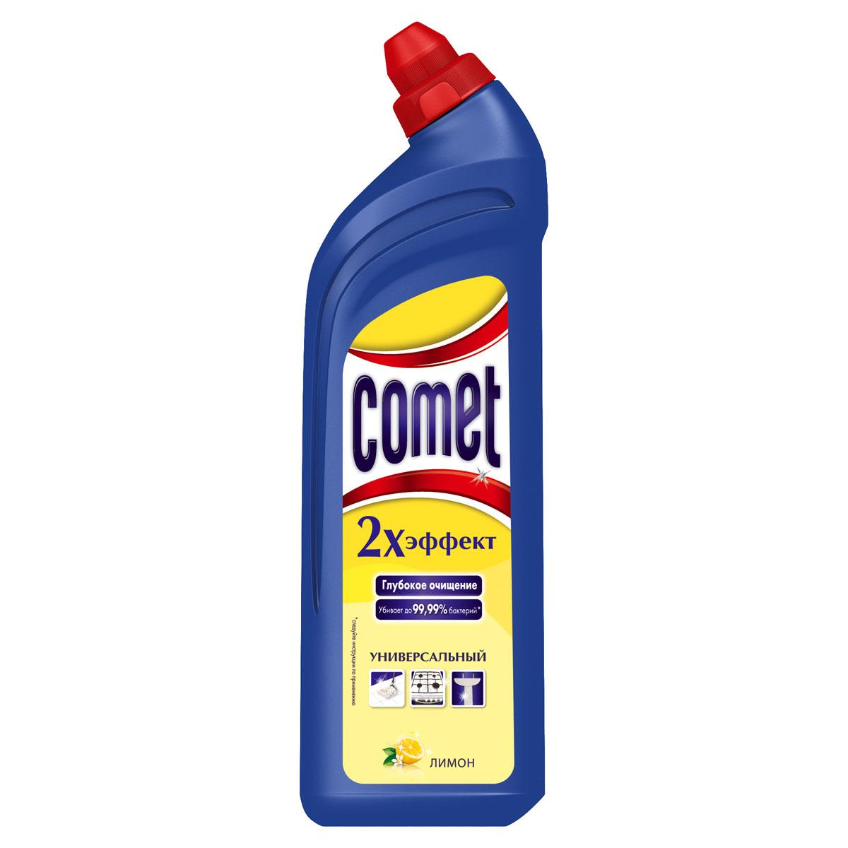 Универсальный чистящий гель Comet Двойной эффект, с ароматом лимона, 1 лCG-80227825Универсальный чистящий гель Comet Двойной эффект предназначен для глубокого очищения поверхностей. Эффективно удаляет повседневные загрязнения и обычный жир во всем доме, а также дезинфицирует поверхности. Средство подходит для плит (в том числе стеклокерамических), ванн, раковин, унитазов, кафеля, мытья полов. Обладает приятным ароматом лимона.