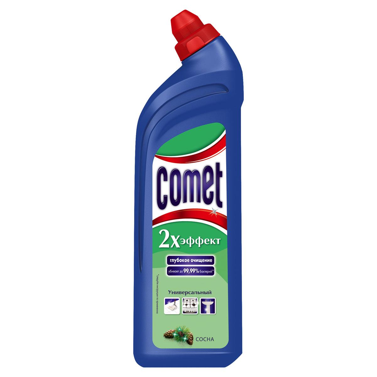 Универсальный чистящий гель Comet Двойной эффект, с ароматом сосны, 1 лCG-80227828Универсальный чистящий гель Comet Двойной эффект предназначен для глубокого очищения поверхностей. Эффективно удаляет повседневные загрязнения и обычный жир во всем доме, а также дезинфицирует поверхности. Средство подходит для плит (в том числе стеклокерамических), ванн, раковин, унитазов, кафеля, мытья полов. Обладает приятным ароматом сосны.