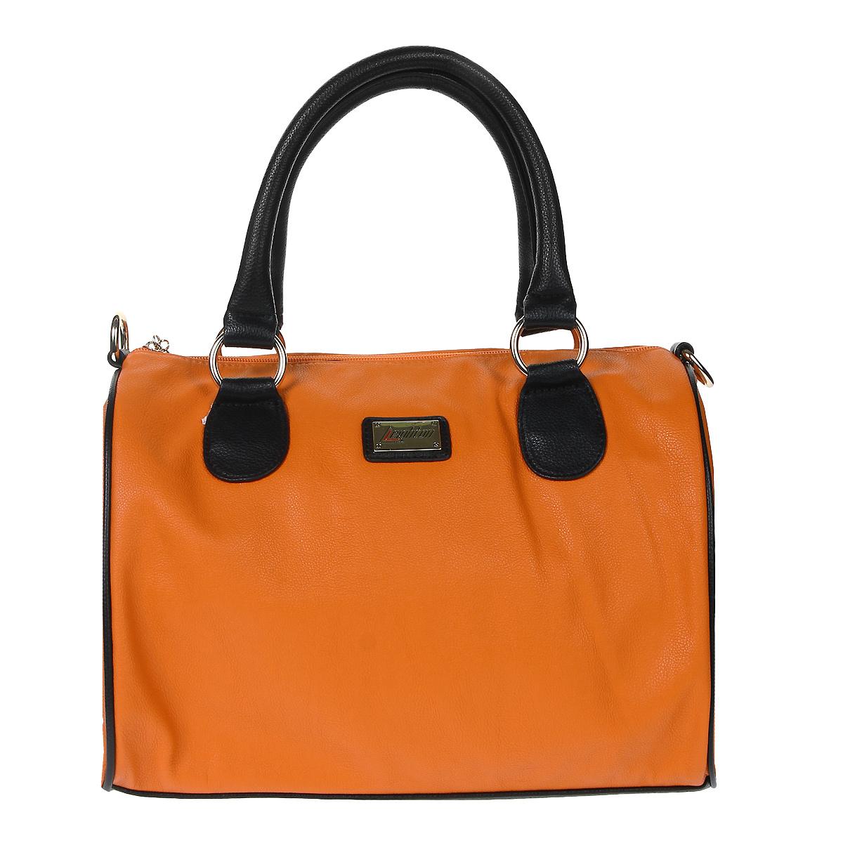 Сумка женская Leighton, цвет: оранжевый. 550429-200550429-200/51/200/1Стильная сумка Leighton выполнена из искусственной кожи оранжевого цвета с элементами из черной экокожи. Модель имеет одно вместительное отделение, закрывающееся на застежку-молнию. Внутри - два открытых накладных кармана и два кармана на молниях. На задней стенке сумки расположен вшитый карман на молнии. Сумка оснащена двумя ручками, крепящимися при помощи металлических колец. В комплекте плечевой ремень регулируемой длины и чехол для хранения. Фурнитура выполнена из золотистого металла. Модная сумка подчеркнет ваш яркий стиль и сделает образ модным и завершенным.
