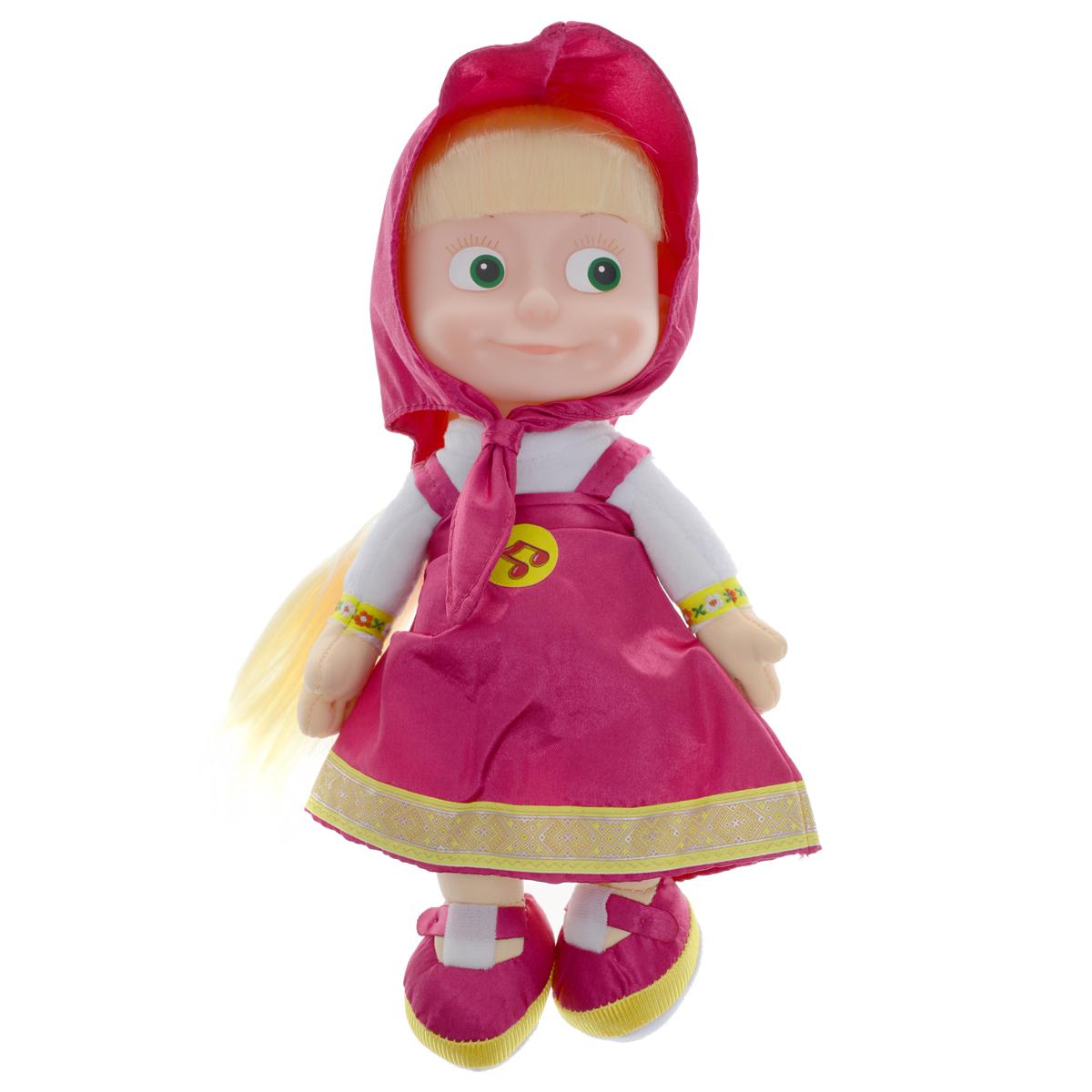Мульти-Пульти Мягкая кукла МашаV85833/30AМягкая озвученная игрушка Мульти-Пульти Маша вызовет улыбку у каждого, кто ее увидит! Она выполнена в виде Маши - главной героини популярного мультсериала Маша и Медведь. Туловище игрушки - мягконабивное, голова - пластиковая. Одета она в свой любимый лиловый сарафан, на голове повязан платочек такого же цвета, под ним - длинные светлые волосы, заплетенные в косу. Если нажать игрушке на животик, Маша произнесет одну из коронных фраз своей героини или споет песенку из мультфильма. Игрушка подарит своему обладателю хорошее настроение и позволит насладиться обществом любимого героя. Характеристики: Материал: текстиль, пластик. Размер игрушки (ДхШхВ): 14 см х 9 см х 28 см. Игрушка работает от 3 батареек типа таблетка (входят в комплект).