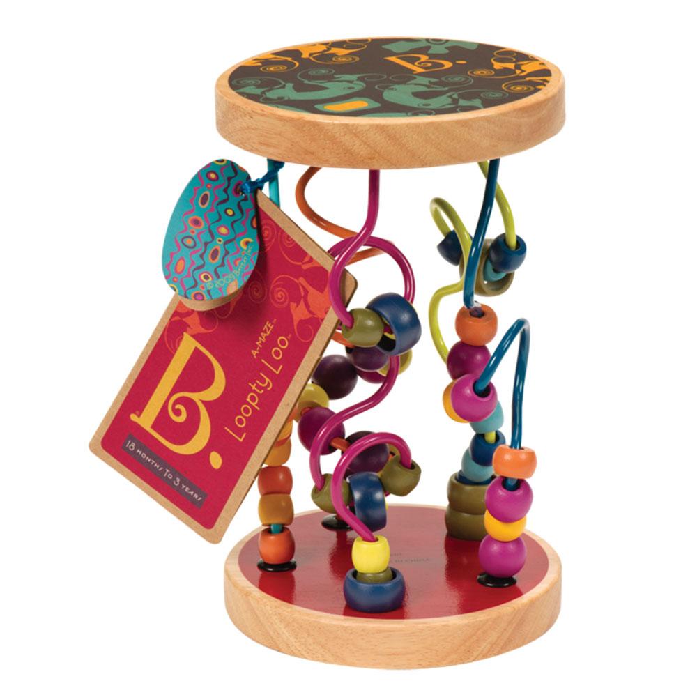 Развивающая игрушка B.Dot Разноцветный лабиринт68643Развивающая игрушка B.Dot Разноцветный лабиринт привлечет внимание вашего ребенка и не позволит ему скучать. Она представляет собой две круглые деревянные основы, соединенные пятью спиральками разных цветов и конфигураций. На спиральки нанизаны разноцветные бусинки и колечки. Малыш с удовольствием будет их передвигать вдоль спиралек из стороны в сторону или сверху вниз. Ребенок может переворачивать игрушку и наблюдать как бусинки и колечки движутся вниз, весело гремя, развлекая кроху. Также малыш сможет катить игрушку перед собой, что будет побуждать его к движению. Игрушка Разноцветный лабиринт поможет развить логическое мышление, пространственное воображение и мелкую моторику.