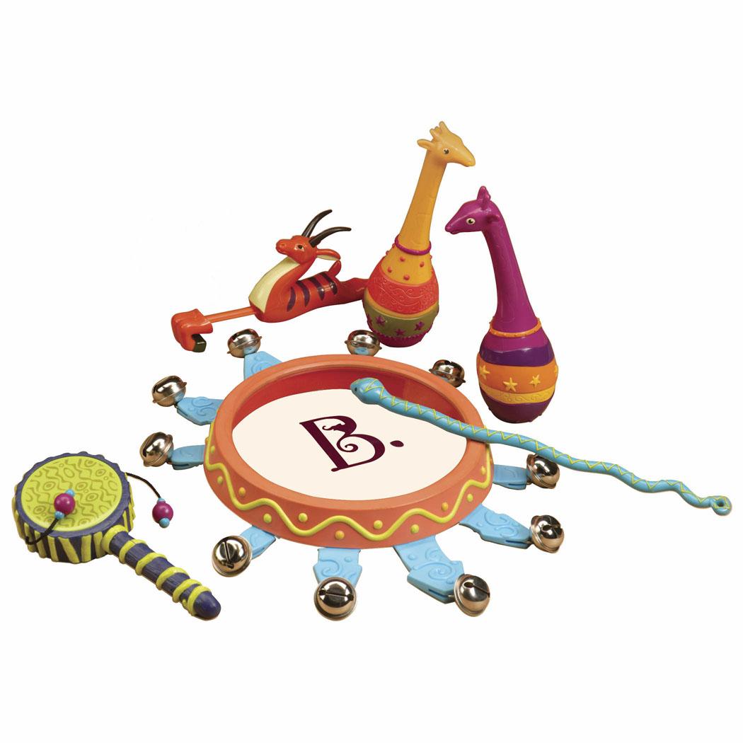 Набор музыкальных инструментов B.Dot Мелодия джунглей68647Набор музыкальных инструментов B.Dot Мелодия джунглей привлечет внимание вашего ребенка и не позволит ему скучать! Он включает в себя пять различных инструментов, выполненных из прочного безопасного пластика ярких цветов. Бубен с 10 металлическими бубенчиками можно просто потрясти или сыграть на нем барабанной палочкой в виде змеи. Свисток в виде антилопы издает звуки, если потянуть ее за ножки и подуть в свисток. Тамбурин глухо постукивает, унося вас в джунгли. Два маракаса в виде жирафов издают разные удивительные звуки. Все инструменты удобны для держания маленькими детскими ручками. Погремушки помогут малышу в развитии цветового и звукового восприятия, чувства ритма, мелкой моторики рук и координации движений.