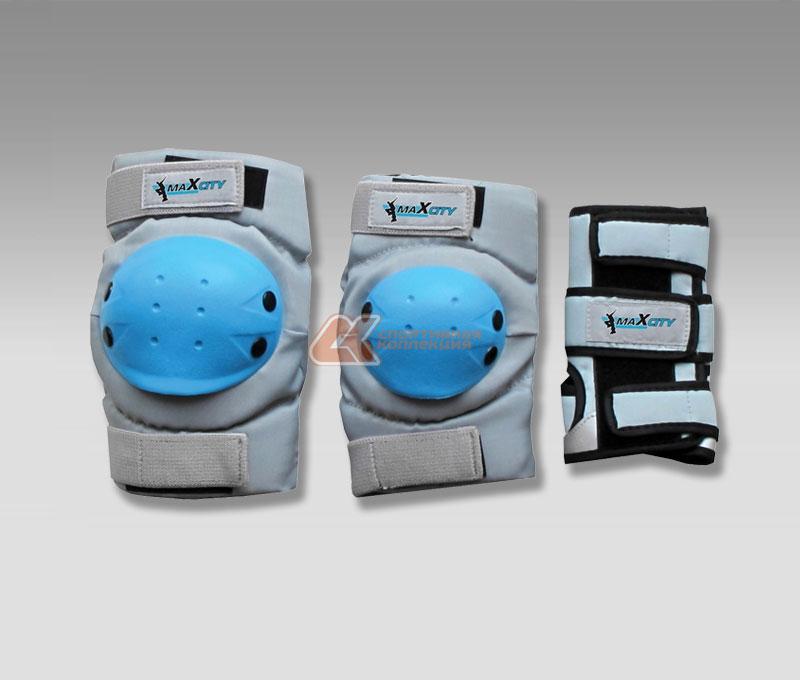Защита роликовая MaxCity Ultra, цвет: серый, голубой. Размер L, от 14 лет2770960442919