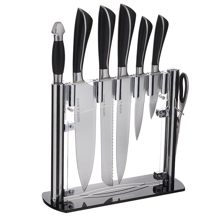 Набор ножей Mayer & Boch, 8 предметов. 2123421234Набор Mayer & Boch состоит из 5 кухонных ножей, ножниц, мусата и подставки. Лезвия ножей выполнены из высококачественной нержавеющей стали. Рукоятки ножей, выполненные из стали и пластика черного цвета, обеспечивают комфортный и легко контролируемый захват. Ножи прекрасно подходят для ежедневной резки фруктов, овощей и мяса. Компактная подставка выполнена из акрила. На дне подставки расположены резиновые ножки для предотвращения скольжения по столу. В набор входят: - Нож для очистки - маленький нож с коротким прямым лезвием. Им удобно снимать кожуру с любого фрукта и овоща. - Нож универсальный - легкий и многофункциональный нож для резки небольших овощей и фруктов, колбасы, сыра, масла. Имеет неширокое лезвие, острие сцентрировано. - Нож разделочный - нож с длинным, не широким, но достаточно толстым лезвием и со сцентрированным острием. Используется для разделки крупных овощей (капуста, свекла, кабачок) для нарезки больших кусков сырого и вареного мяса,...