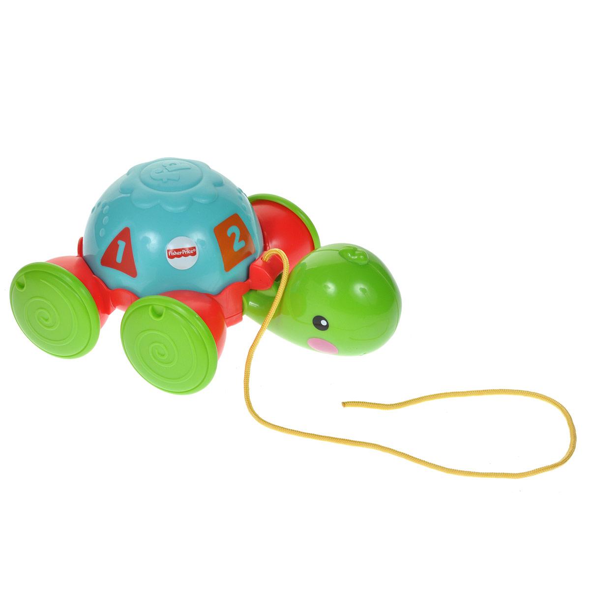 Fisher-Price Infant Каталка Обучающая черепашка на колесикахY8652Яркая игрушка-каталка Fisher-Price Infant Обучающая черепашка на колесиках непременно понравится вашему малышу и подойдет для игры как дома, так и на свежем воздухе. Игрушка со выполнена из прочного пластика ярких цветов в виде симпатичной черепашки на колесиках. Свободно вращающийся панцирь черепашки оформлен четырьмя геометрическими фигурами разных цветов, в центре которых находится цифра от 1 до 4. Выпуклые детали корпуса помогут малышу научиться различать разные цвета, формы и цифры. Ребенок сможет катать игрушку, потянув за текстильный шнурок. Во время движения черепашка забавно кивает головой. Игрушка-каталка Fisher-Price Infant Обучающая черепашка на колесиках развивает пространственное мышление, цветовое восприятие, тактильные ощущения, ловкость и координацию движений.