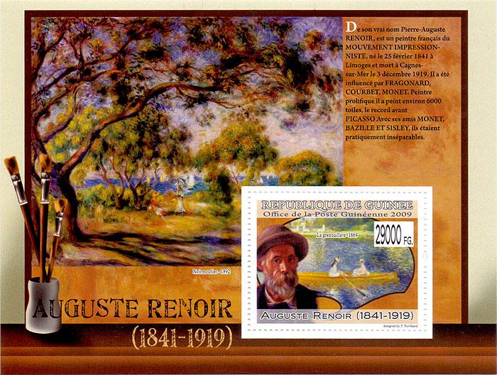 Почтовый блок Огюст Ренуар. Гвинея, 2009 годF30 BLUEПочтовый блок Огюст Ренуар. Гвинея, 2009 год. Размер марки 3,5 х 4,5 см, размер блока 10,5 х 14 см. Сохранность хорошая.