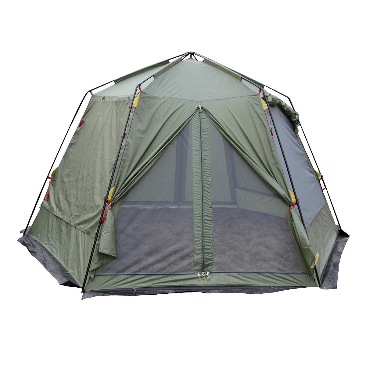 Шатер Talberg Arbour, цвет: зеленыйУТ-000046501Большой каркасный шатер Talberg Arbour без дна. Предназначен для размещения кухни или столовой в палаточном городке, где отдыхает много народу. Тент выполнен из прочного водоустойчивого полиэстера. Шатер имеет 2 входа с двух противоположных сторон и ветрозащитную юбку. Окна выполнены из москитной сетки и со всех сторон снаружи закрываются тканевыми занавесками на липучках из водонепроницаемой ткани. Занавески скручиваются вверх. Штормовые оттяжки есть в верху боковых стенок и посередине. Характеристики: Размер шатра в разложенном виде (ДхШхВ): 420 см х 370 см х 240 см. Наружный тент: Polyester 190T/75D 5000 мм. Каркас: дуги из стали диаметром 19 мм. Вес: 10 кг.