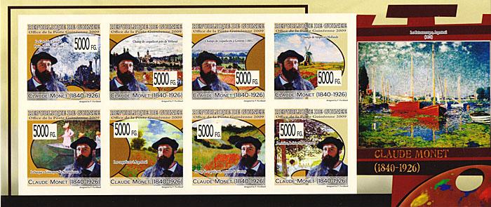 Малый лист без зубцов Клод Моне. Гвинея, 2009 годF30 BLUEМалый лист без зубцов Клод Моне. Гвинея, 2009 год. Размер марок 3,5 х 3,5 см, размер листа 9,5 х 22,5 см. Сохранность хорошая.