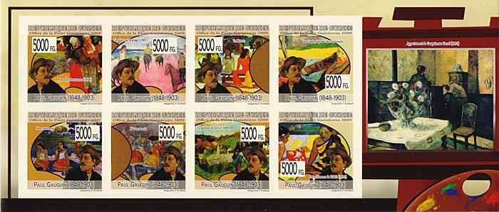 Малый лист без зубцов Поль Гоген. Гвинея, 2009 годF30 BLUEМалый лист без зубцов Поль Гоген. Гвинея, 2009 год. Размер марок 3,5 х 3,5 см, размер листа 9,5 х 22,5 см. Сохранность хорошая.