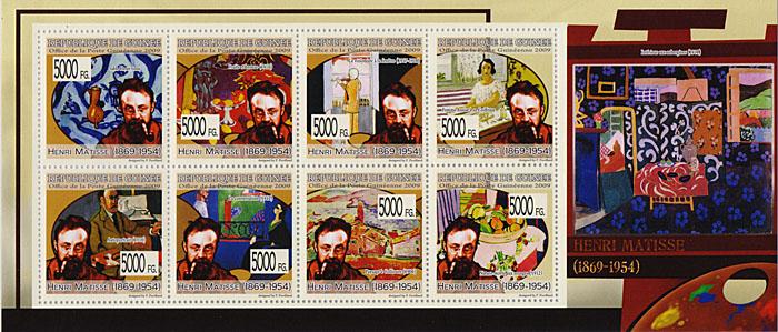 Малый лист Анри Матисс. Гвинея, 2009 годF30 BLUEМалый лист Анри Матисс. Гвинея, 2009 год. Размер марок 4 х 4 см, размер листа 9,5 х 22 см. Сохранность хорошая.
