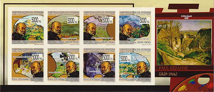 Малый лист Поль Сезанн. Гвинея, 2009 годF30 BLUEМалый лист Поль Сезанн. Гвинея, 2009 год. Размер марок 4 х 4 см, размер листа 9,5 х 22 см. Сохранность хорошая.