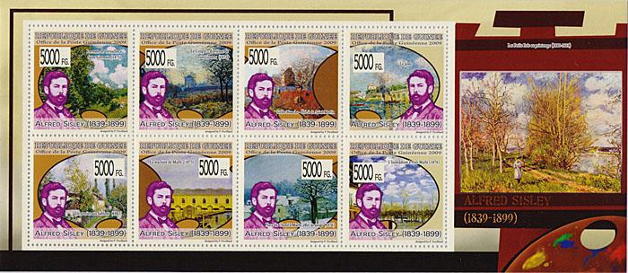 Малый лист Альфред Сислей. Гвинея, 2009 годF30 BLUEМалый лист Альфред Сислей. Гвинея, 2009 год. Размер марок 4 х 4 см, размер листа 9,5 х 22 см. Сохранность хорошая.