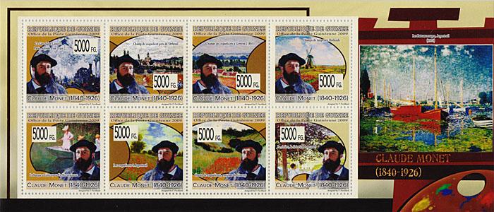 Малый лист Клод Моне. Гвинея, 2009 годF30 BLUEМалый лист Клод Моне. Гвинея, 2009 год. Размер марок 4 х 4 см, размер листа 9,5 х 22 см. Сохранность хорошая.