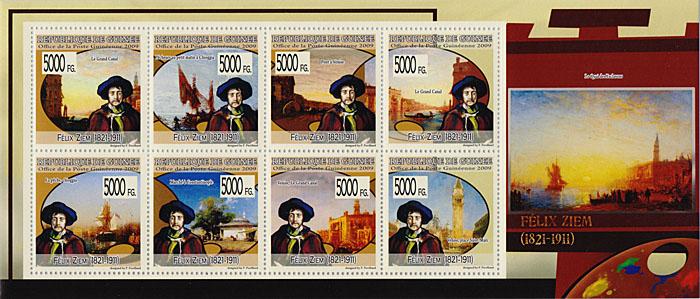Малый лист Феликс Зим. Гвинея, 2009 годF30 BLUEМалый лист Феликс Зим. Гвинея, 2009 год. Размер марок 4 х 4 см, размер листа 9,5 х 22 см. Сохранность хорошая.