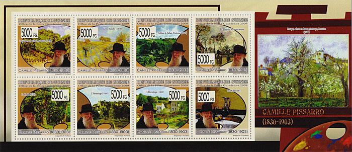 Малый лист Камиль Писсарро. Гвинея, 2009 годF30 BLUEМалый лист Камиль Писсарро. Гвинея, 2009 год. Размер марок 4 х 4 см, размер листа 9,5 х 22 см. Сохранность хорошая.