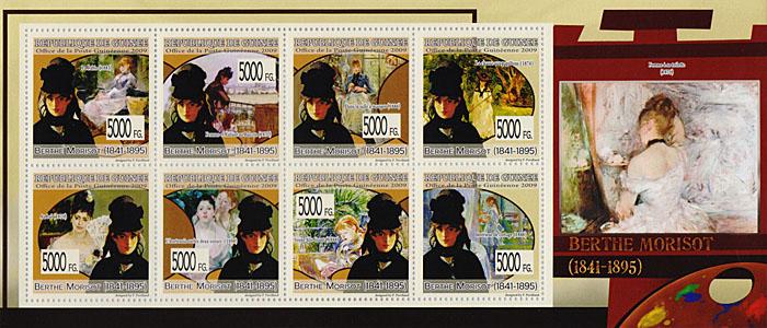 Малый лист Берта Моризо. Гвинея, 2009 годF30 BLUEМалый лист Берта Моризо. Гвинея, 2009 год. Размер марок 4 х 4 см, размер листа 9,5 х 22 см. Сохранность хорошая.