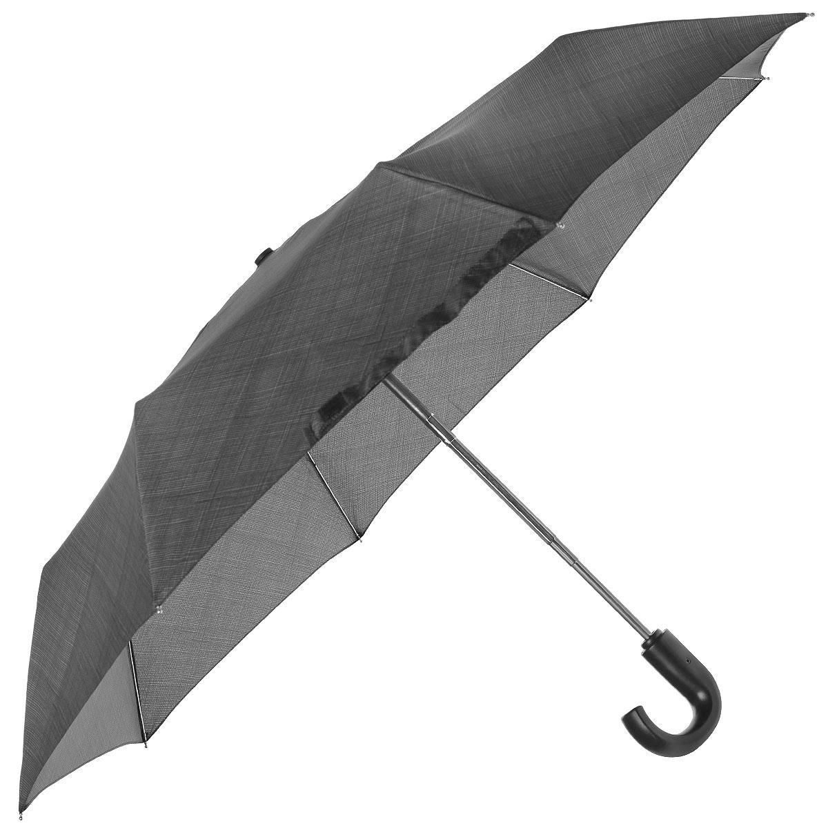 """Зонт мужской Fulton Weave Grey, автомат, 3 сложения, цвет: серыйG834 3S2250Стильный зонт """"Weave Grey"""" даже в ненастную погоду позволит вам оставаться элегантным. """"Ветростойкий"""" каркас зонта состоит из восьми металлических спиц, стержень выполнен из стали. Зонт оснащен удобной рукояткой закругленной формы, выполненной из пластика. Купол зонта выполнен из прочного полиэстера серого цвета. К зонту прилагается чехол. Зонт автоматического сложения: купол открывается и закрывается нажатием кнопки, стержень складывается вручную до характерного щелчка."""