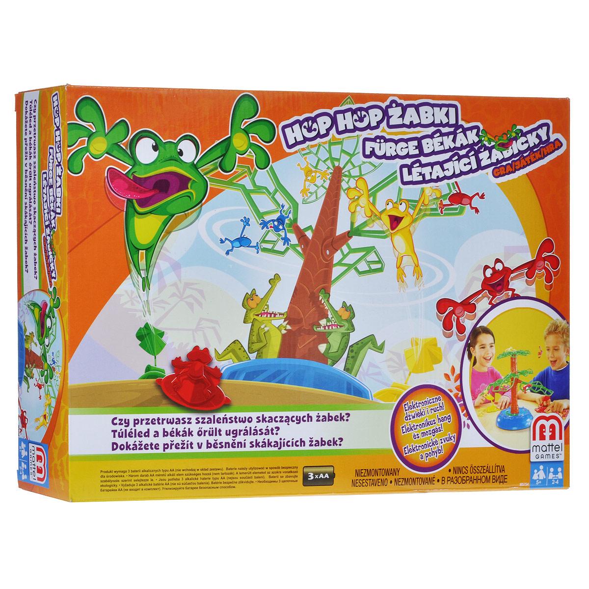 Mattel Games Настольная игра Летающие лягушкиM5754Настольная игра Mattel Games Летающие лягушки позволит вашему ребенку весело провести время в кругу друзей или семьи. Участники используют пусковые устройства в виде лилий для запуска своих лягушек на вращающееся дерево. У кого больше лягушек останется сидеть на дереве, тот и выиграл раунд! Перед началом игры необходимо установить дерево. Каждый игрок берет себе пусковое устройство и шесть лягушек. Нажмите на верхушку дерева, чтобы оно начало крутиться. Игроки запускают лягушек на дерево до тех пор, пока оно не закроется. Тот, у кого больше лягушек останется на дереве, выигрывает раунд. Участник, выигравший три раунда, становится победителем. В комплект игры входят: 24 лягушки (по 6 лягушек красного, желтого, зеленого и синего цветов), 4 пусковых устройства, основание, ствол дерева, 4 ветки, верхушка дерева и правила игры на русском языке. Необходимо докупить 3 батарейки напряжением 1,5V типа АА (не входят в комплект).