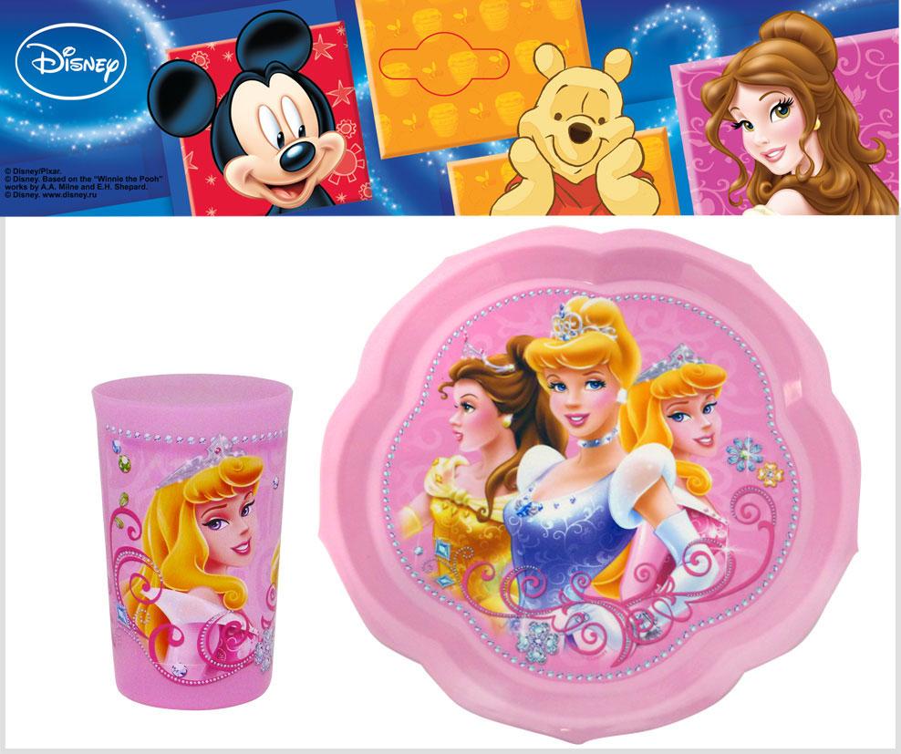 """Набор детской посуды """"Принцессы"""", цвет: розовый, 2 предмета, Disney"""