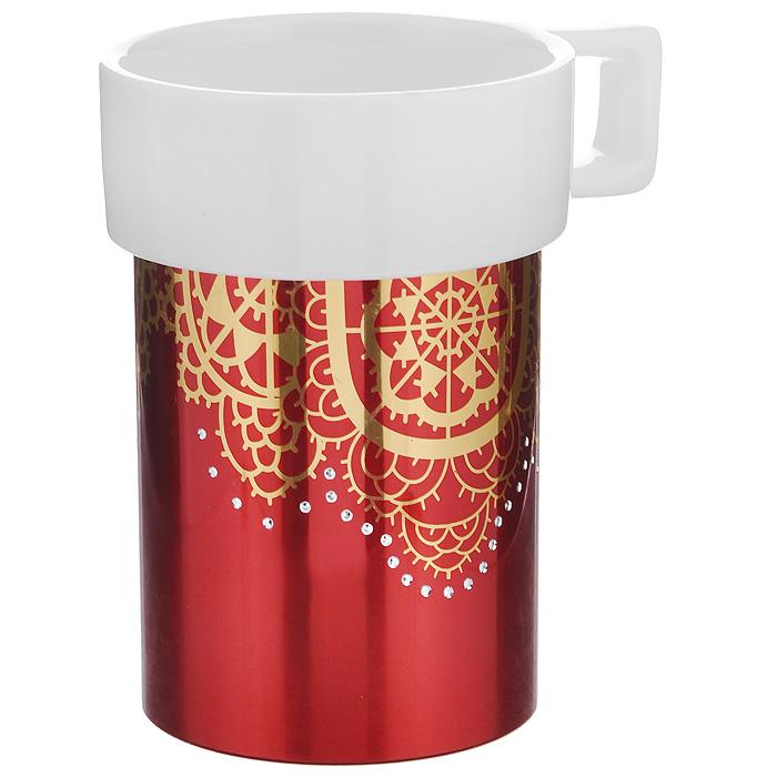 Кружка Amber Porcelain Ажурная салфетка, 220 мл214181Кружка Amber Porcelain Ажурная салфетка, выполненная из фарфора, имеет оригинальную форму и яркий дизайн. Дно изделия оснащено силиконовой накладкой. Такая кружка порадует вас дизайном и функциональностью, а пить чай или кофе из нее станет еще приятнее.