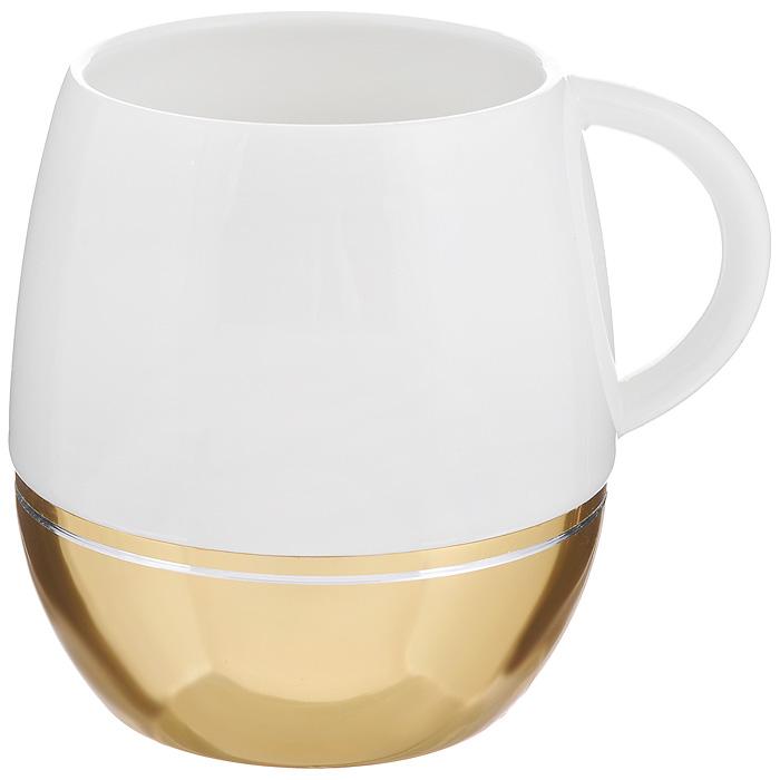 Кружка Amber Porcelain, цвет: белый, золотистый, 430 мл214190Кружка Amber Porcelain, выполненная из фарфора, имеет оригинальную форму. Дно изделия оснащено силиконовой накладкой. Такая кружка порадует вас дизайном и функциональностью, а пить чай или кофе из нее станет еще приятнее.