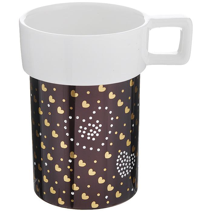 Кружка Amber Porcelain Сердечки, 220 мл214182Кружка Amber Porcelain Сердечки, выполненная из фарфора, имеет оригинальную форму и яркий дизайн. Дно изделия оснащено силиконовой накладкой. Такая кружка порадует вас дизайном и функциональностью, а пить чай или кофе из нее станет еще приятнее.