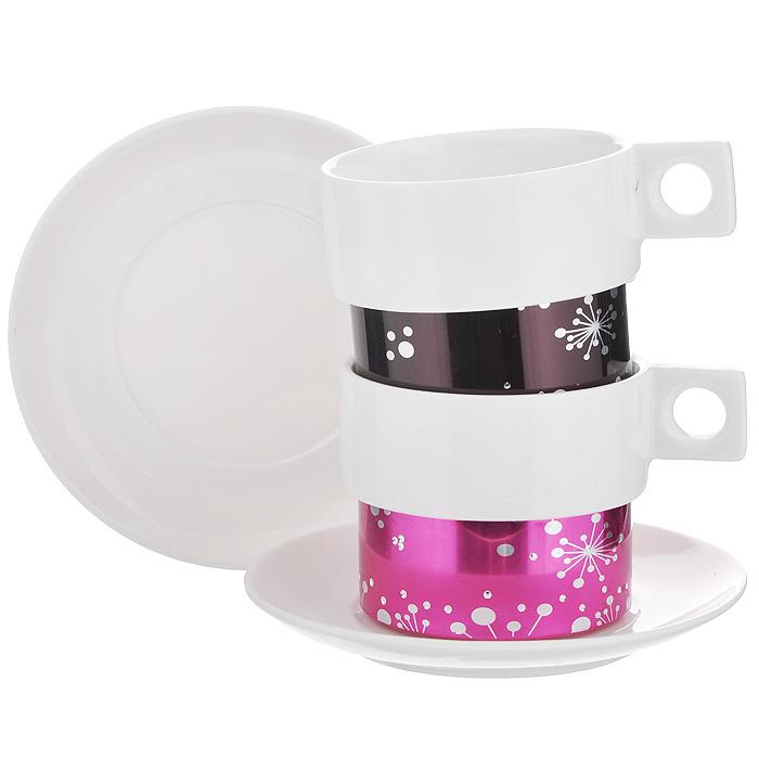 Кофейный набор Amber Porcelain, 4 предмета, 150 мл. 214173214173Кофейный набор Amber Porcelain состоит из 2 чашек и 2 блюдец, изготовленных из высококачественного фарфора и оформленных орнаментом и стразами. Яркий дизайн, несомненно, придется вам по вкусу. Кофейный набор Amber Porcelain украсит ваш кухонный стол, а также станет замечательным подарком к любому празднику. Характеристики: Материал: фарфор. Диаметр чашки по верхнему краю: 7 см. Высота чашки: 5,5 см. Диаметр блюдца: 12 см.