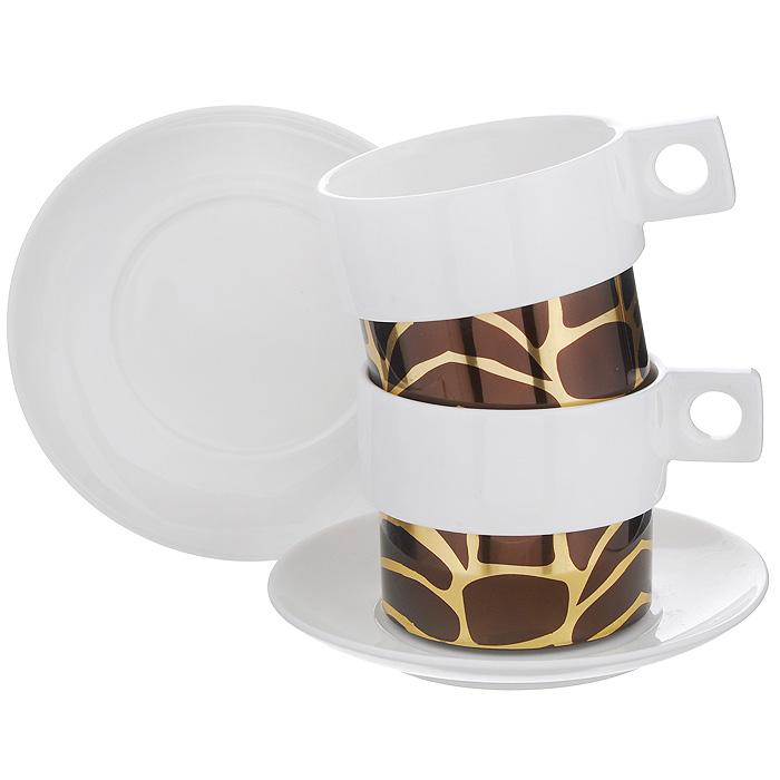 Кофейный набор Amber Porcelain, 4 предмета, 150 мл. 214174214174Кофейный набор Amber Porcelain состоит из 2 чашек и 2 блюдец, изготовленных из высококачественного фарфора и оформленных орнаментом. Яркий дизайн, несомненно, придется вам по вкусу. Кофейный набор Amber Porcelain украсит ваш кухонный стол, а также станет замечательным подарком к любому празднику. Характеристики: Материал: фарфор. Диаметр чашки по верхнему краю: 7 см. Высота чашки: 6 см. Диаметр блюдца: 12 см.
